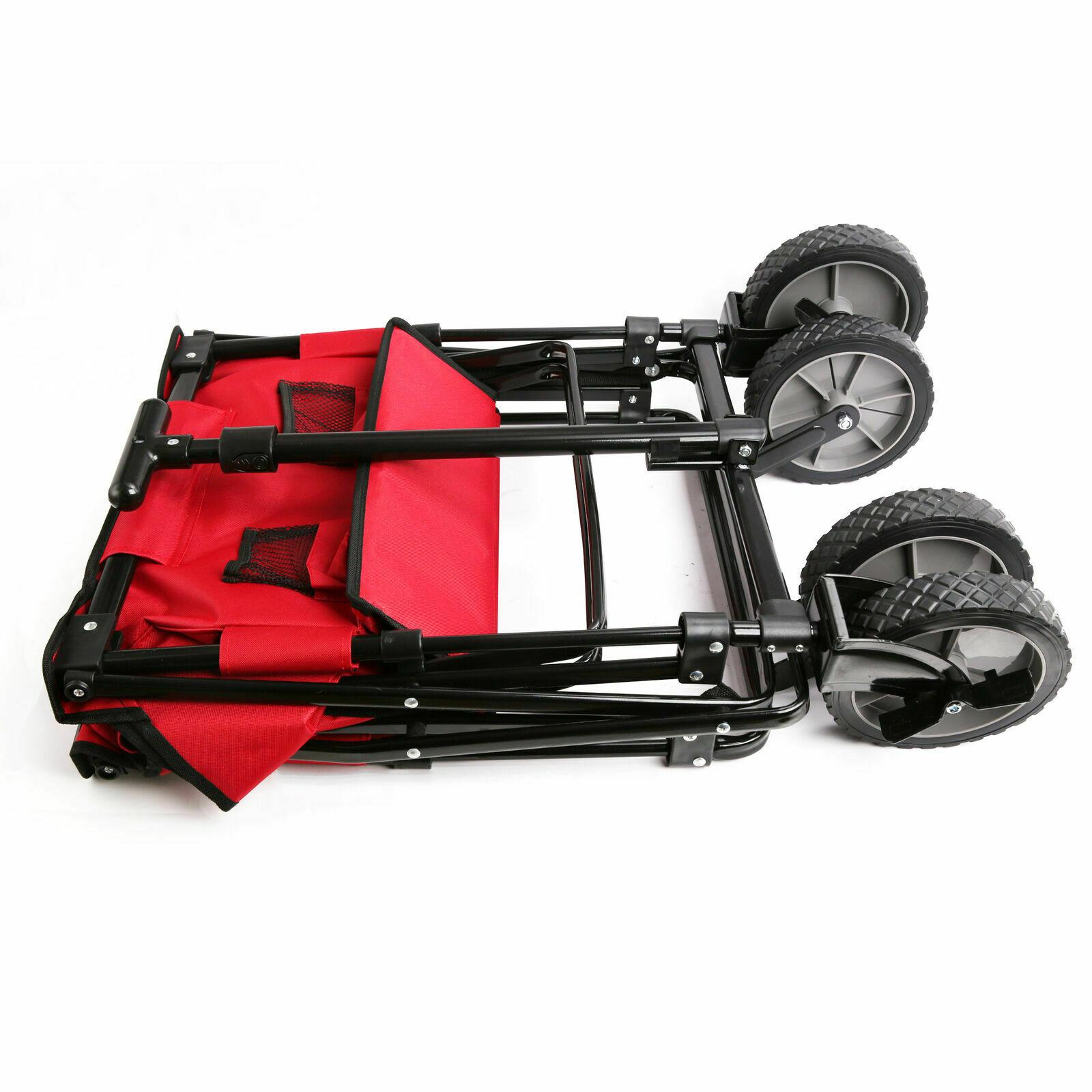 Defacto Bollerwagen Faltbar mit Dach und Bremse  Handwagen Klappbar Strandwagen Gerätewagen
