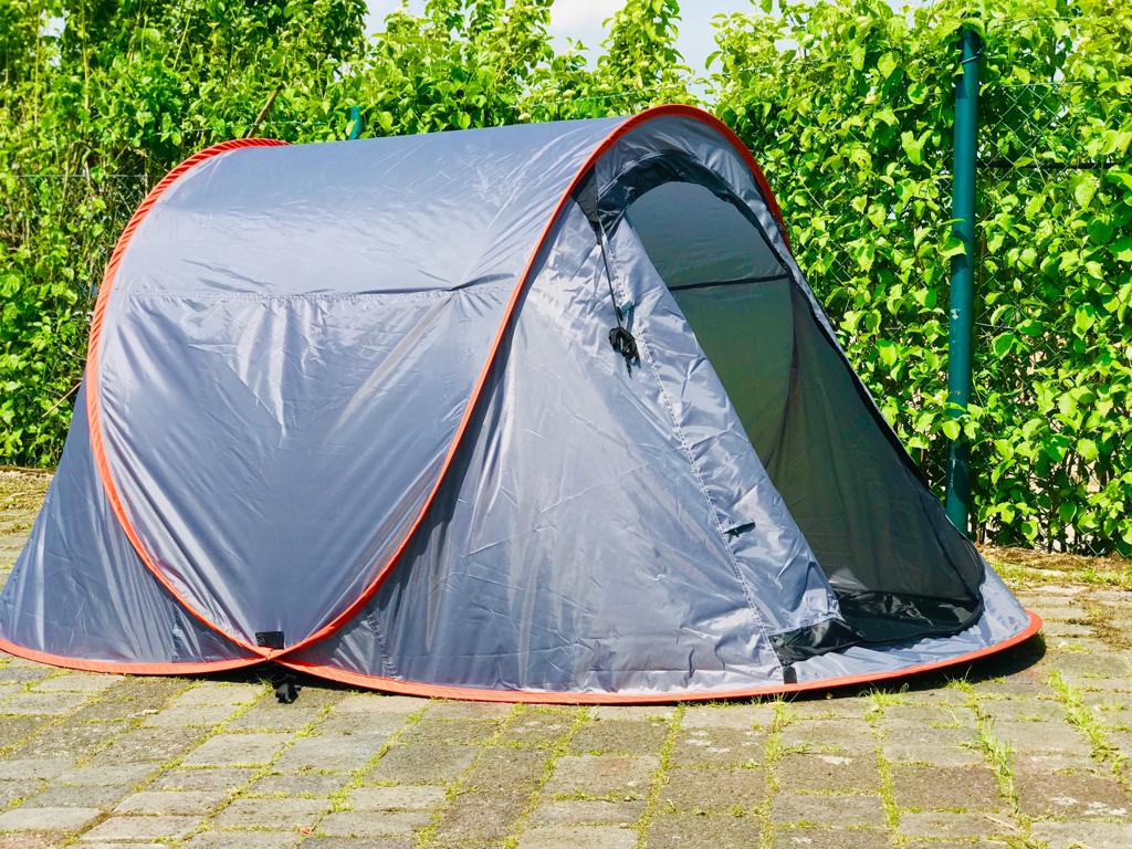 Wurfzelt Sekundenzelt 2-3 Person Outdoor Campingzelt Tent Pop Up 245x145x110cm GRAU