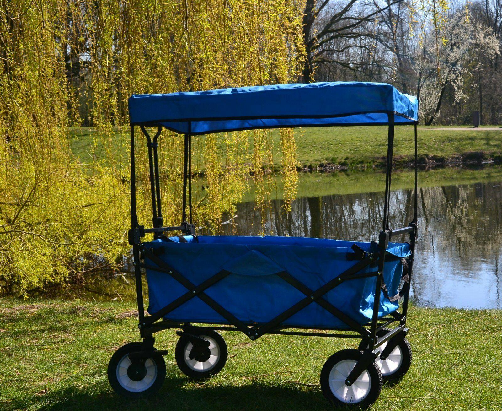 Faltbarer Bollerwagen Faltwagen Handwagen Außenschubkarre Strandwagen klappbar mit DACH&Tasche Blau