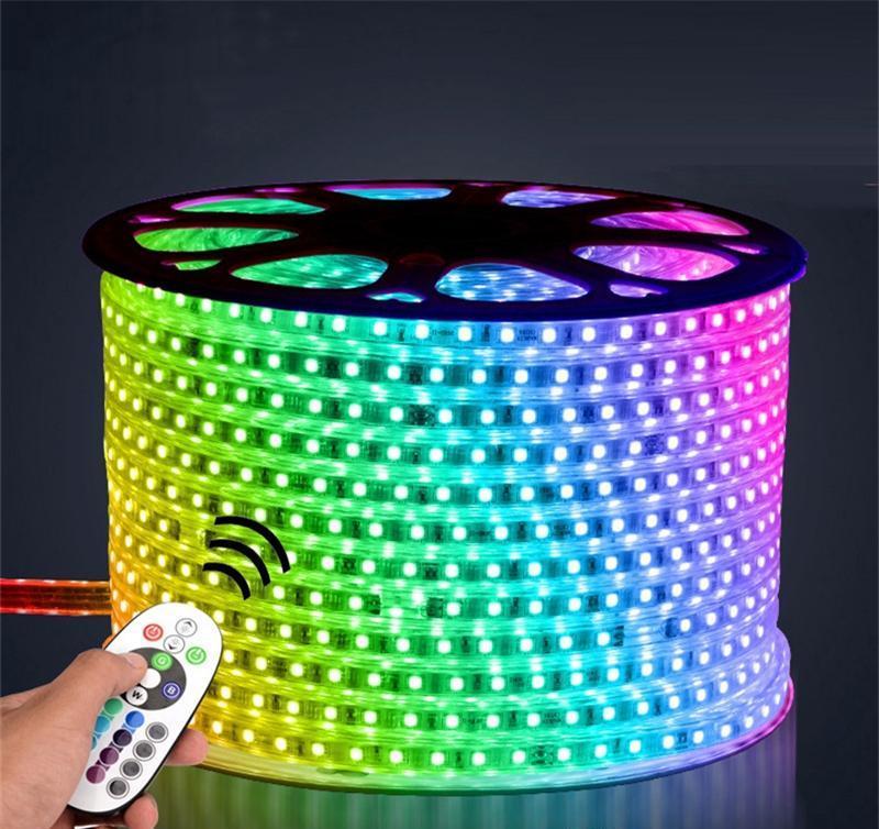 LED Strip 100m RGB Lighting Flexible 5050 60LEDs LED Leiste IP65 wasserdichte Ink.Trafo&Fernbed.