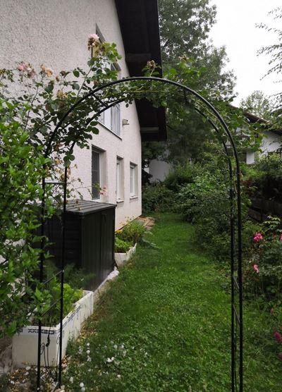 defacto Rosenbogen Rankgitter Gartentor Rankhilfe - 230x114x37cm - Metall- Schwarz-Rostfrei [28B