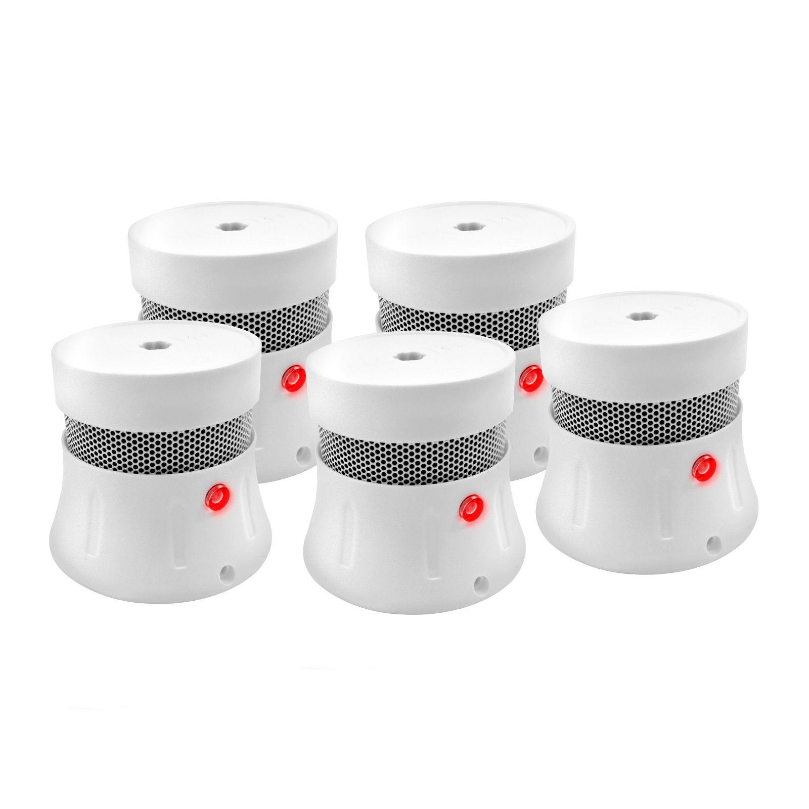 5 Stück Brennenstuhl Rauchmelder mit 5 Jahre Lithium Batterie EN14604 Feuermelder MINI