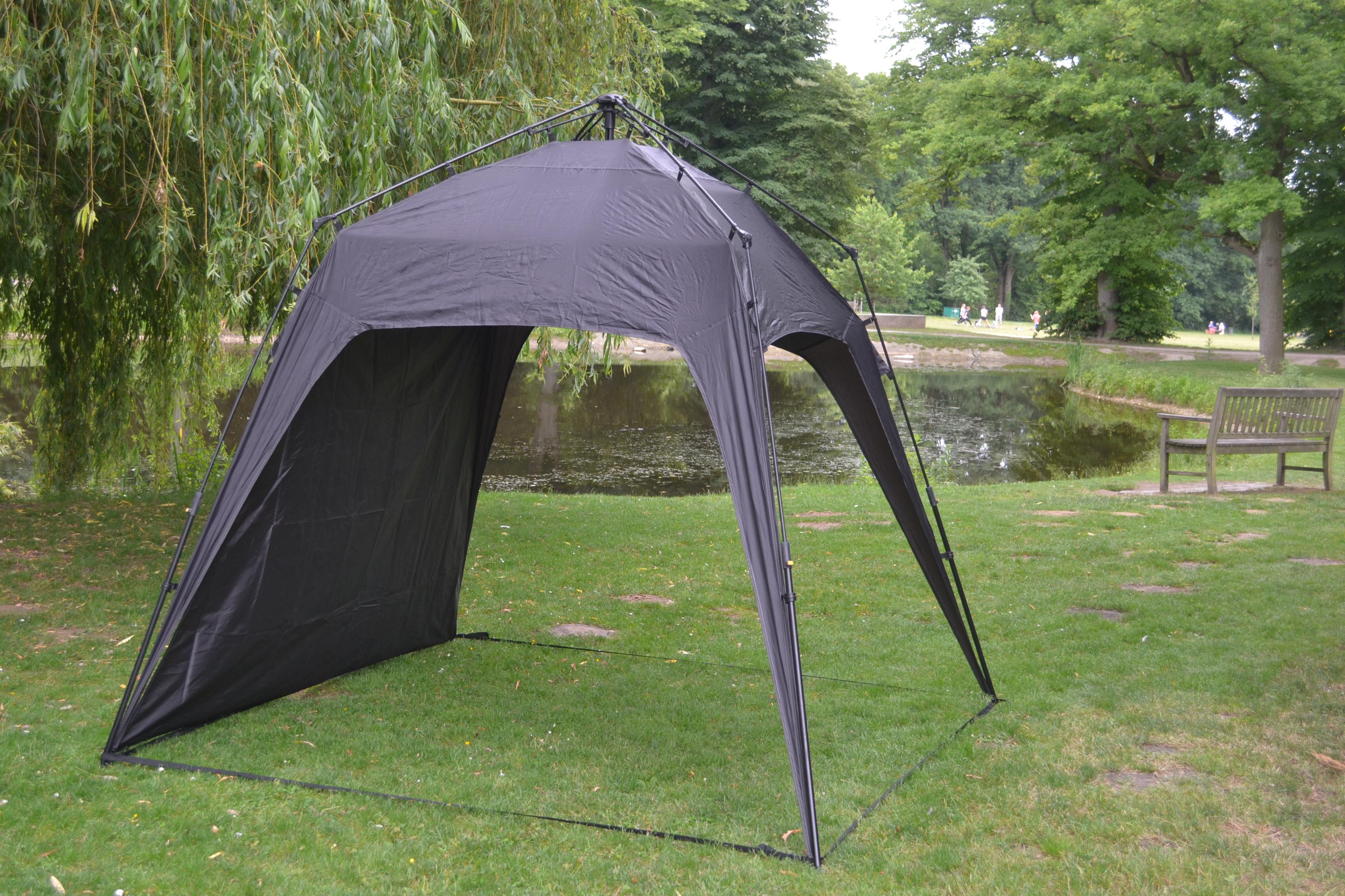 Campingzelt Outdoor Faltbar Pavillon Gartenzelt + 1 Seitenteile Tasche&Herrringe Schwarz DF-10134