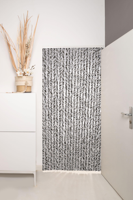 Flauschvorhang Türvorhang 90x210cm Chenille Fliegenschutz Insektenschutz Made Italy Grau/Weiss-