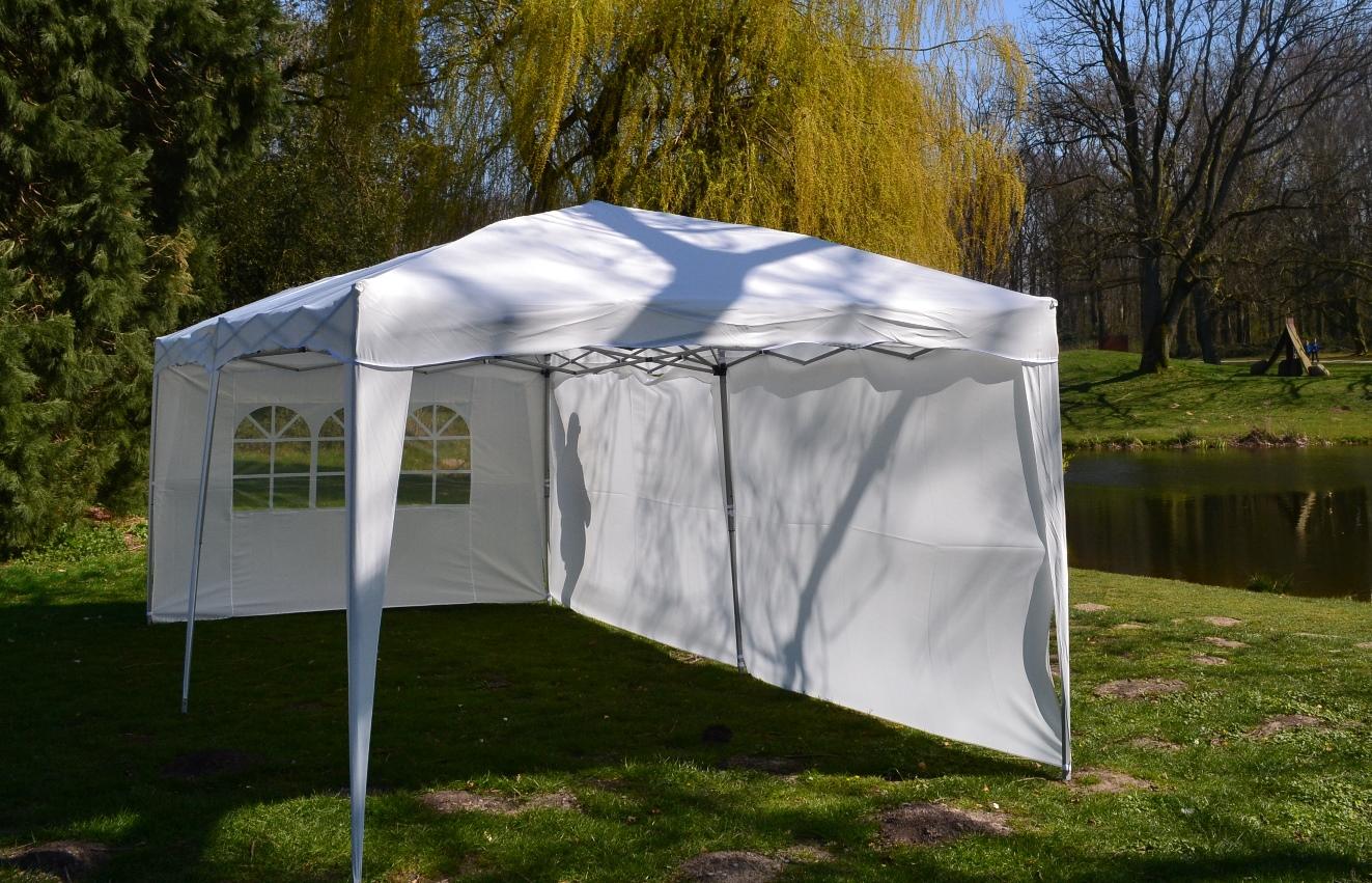 Faltpavillon 3x6m Klappzelt Gartenzelt Faltbar 100% Wasserdicht Inkl 4-Seitenteile WEISS