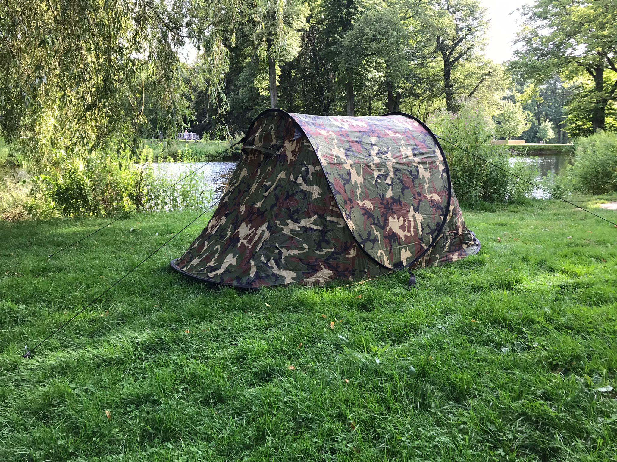 Wurfzelt Sekundenzelt 2-3 Person Outdoor Campingzelt Tent Pop Up 245x145x110cm Camouflage