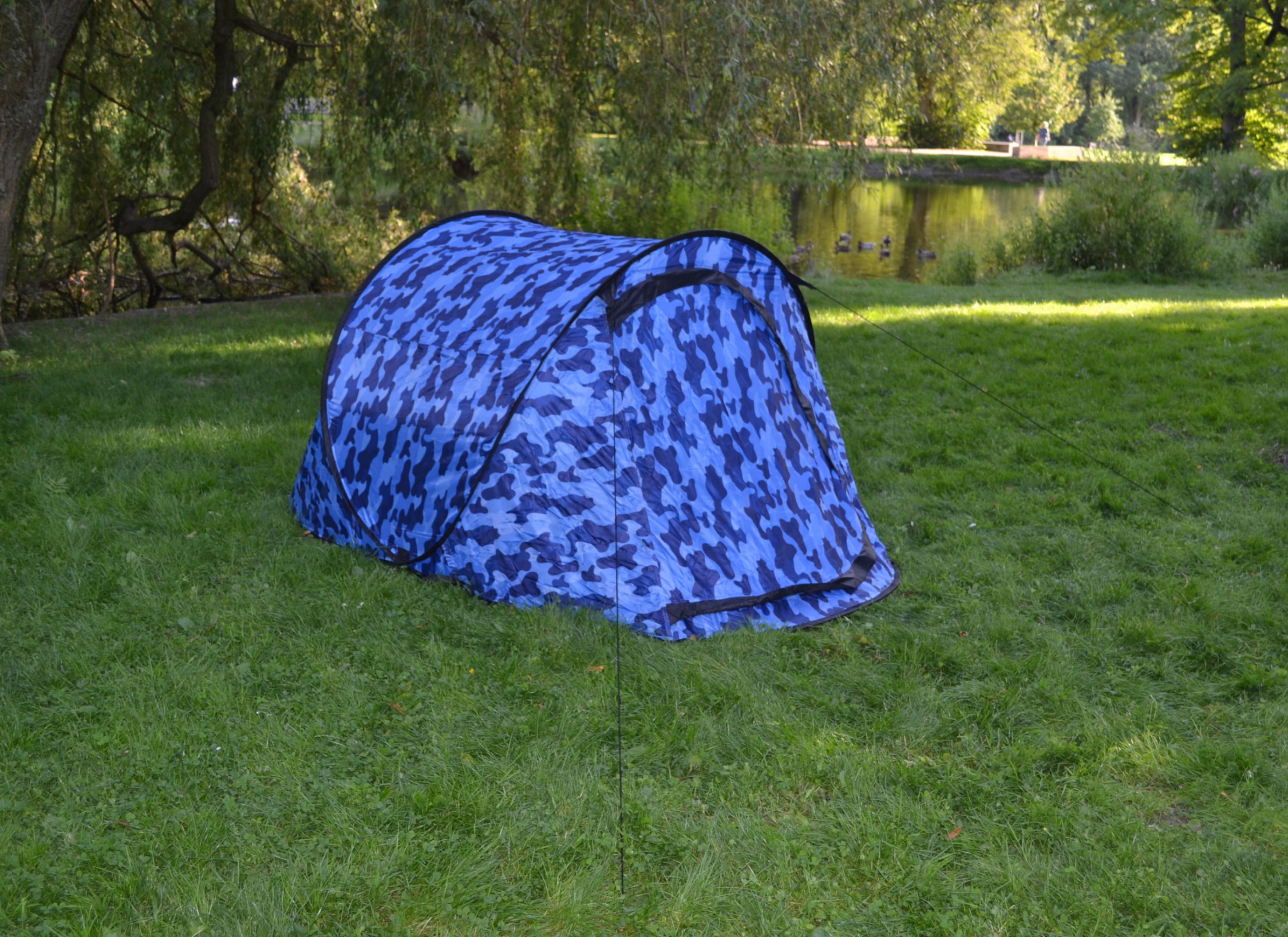 Wurfzelt Sekundenzelt 2-3 Person Outdoor Campingzelt Tent Pop Up 245x145x110cm BLAU-Camouflage