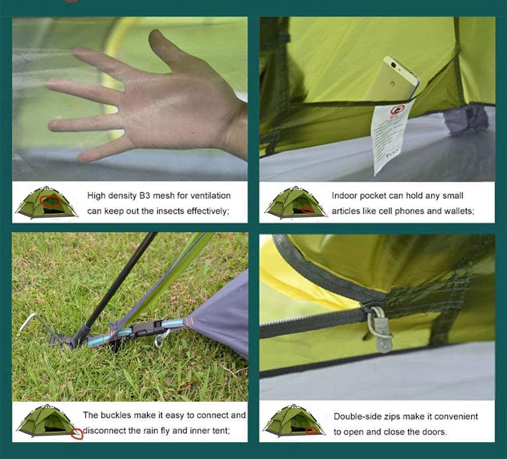Campingzelt Wurfzelt 2-4 Pers. Wasserdicht, Sekundenzelt Kuppelzelt 240x210x135cm GRÜN