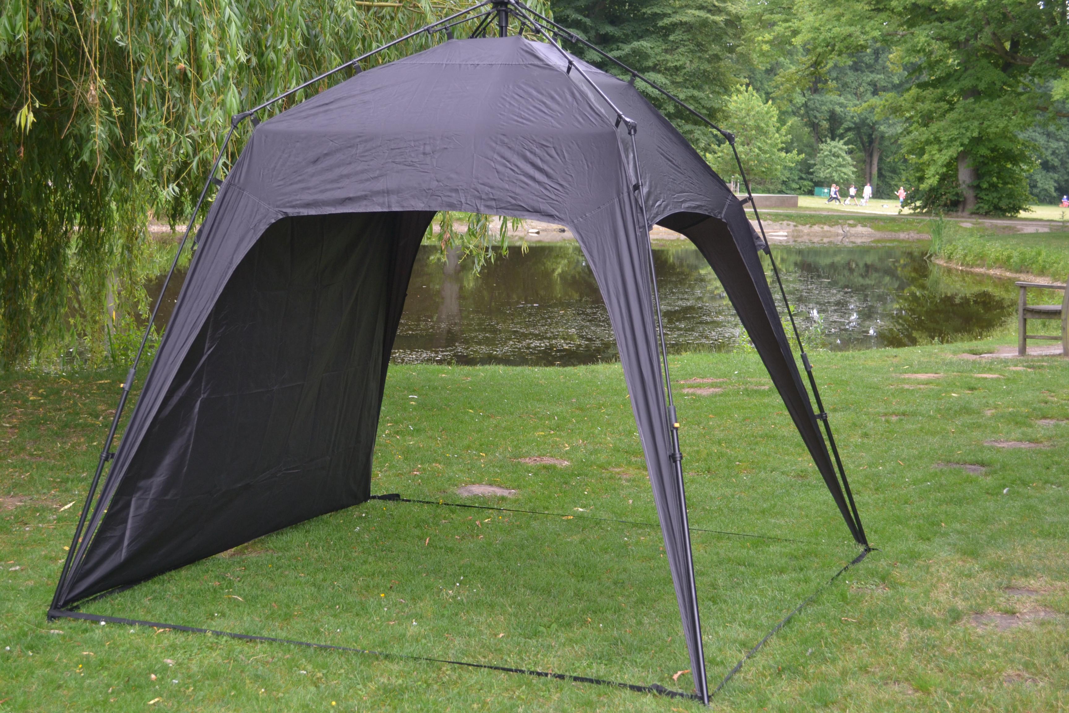 Campingzelt Outdoor Faltbar Pavillon Gartenzelt + 1 Seitenteile Tasche&Herrringe Schwarz