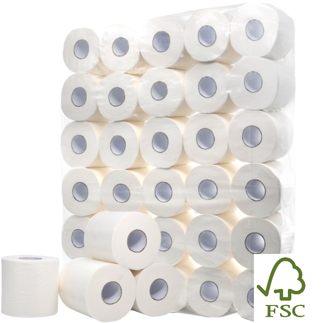 Defacto Toilettenpapier Klopapier WC-Papier 3-Lagig 150 BLATT Weiß FSC® 96 Rollen