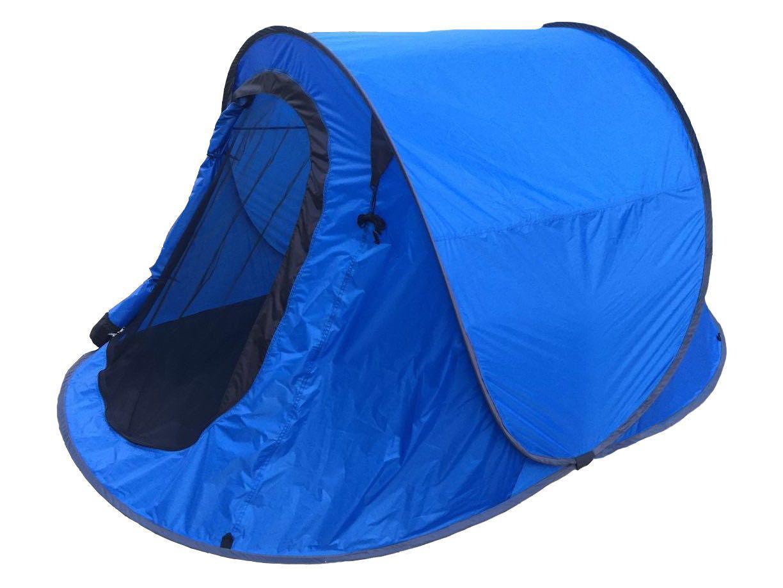 Wurfzelt Sekundenzelt 2-3 Person Outdoor Campingzelt Tent Pop Up 245x145x110cm BLAU