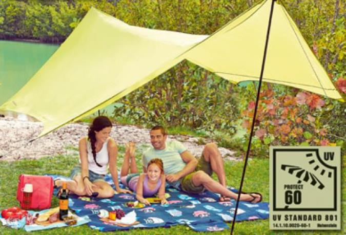 Sonnensegel 4x3m UV60+ Sonnenschutz Camping Sonnendach Markise mit Aufstellstang GRÜN