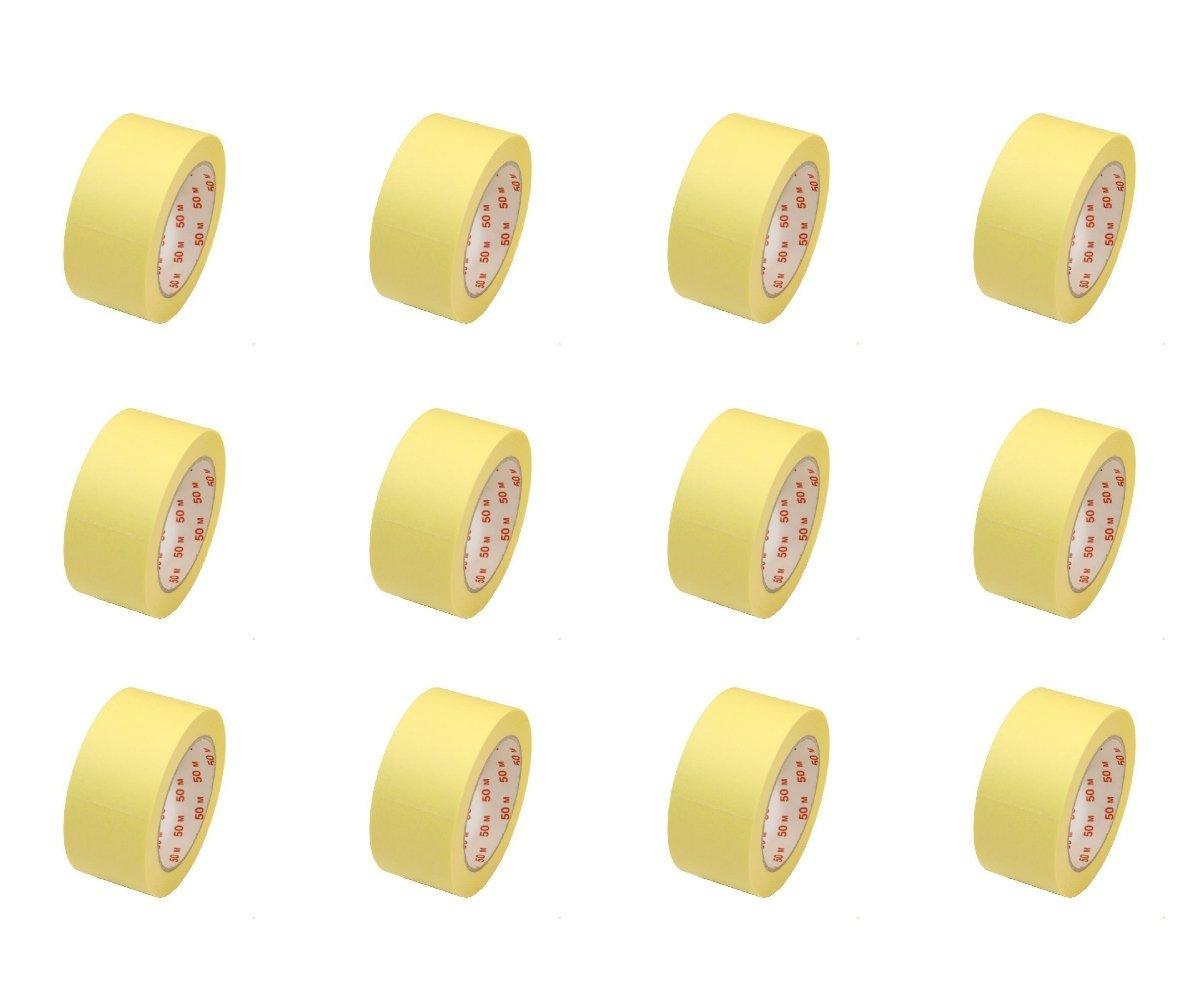 Profi-Qualität Malerkrepp Feinkrepp Band 50mmx50m Kreppband Feinkreppbanden 12 Rolle