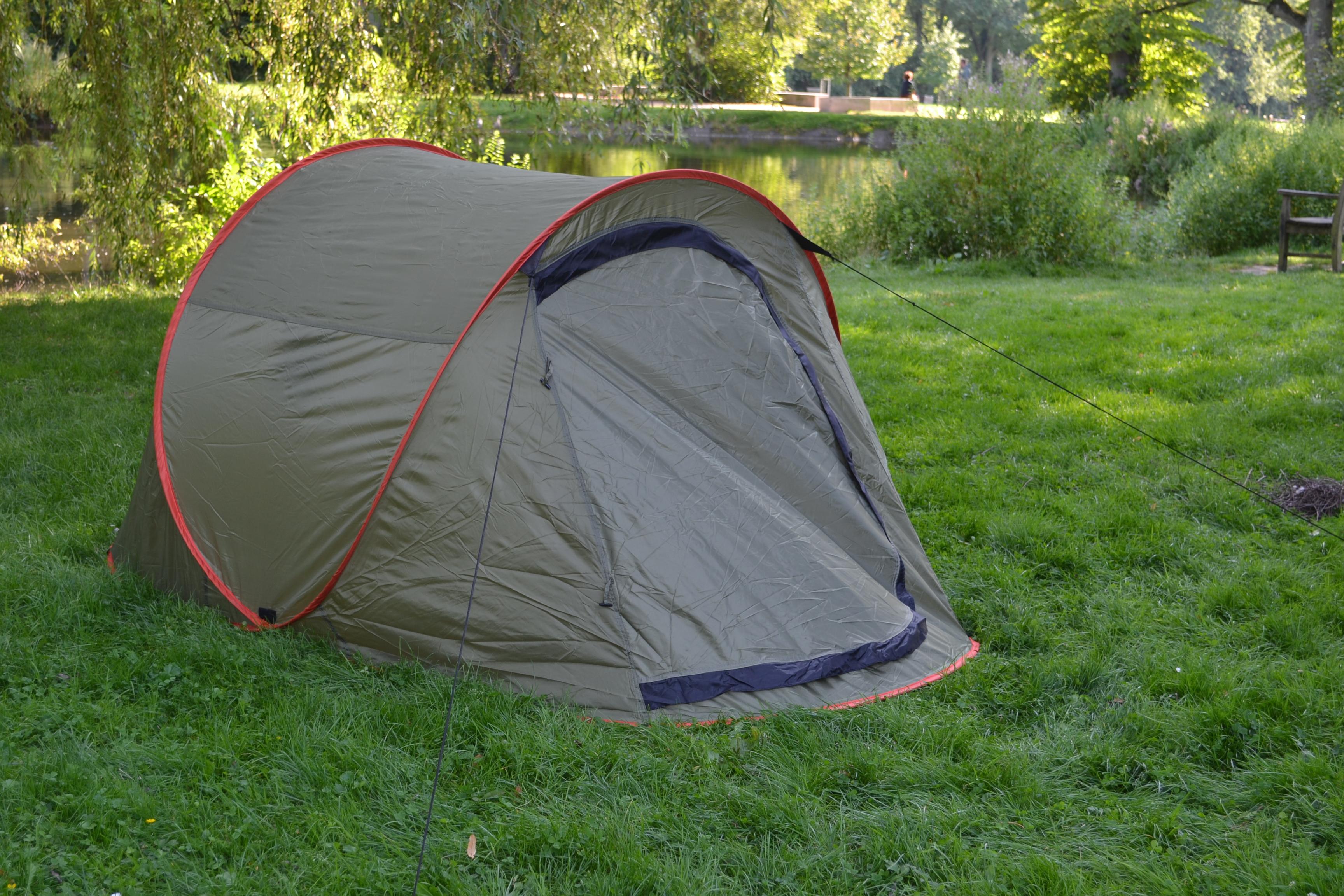 Wurfzelt Sekundenzelt 2-3 Person Outdoor Campingzelt Tent Pop Up 245x145x110cm GRÜN